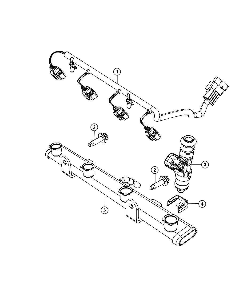 Dodge Dart Wiring. Fuel rail, injector. Injectors