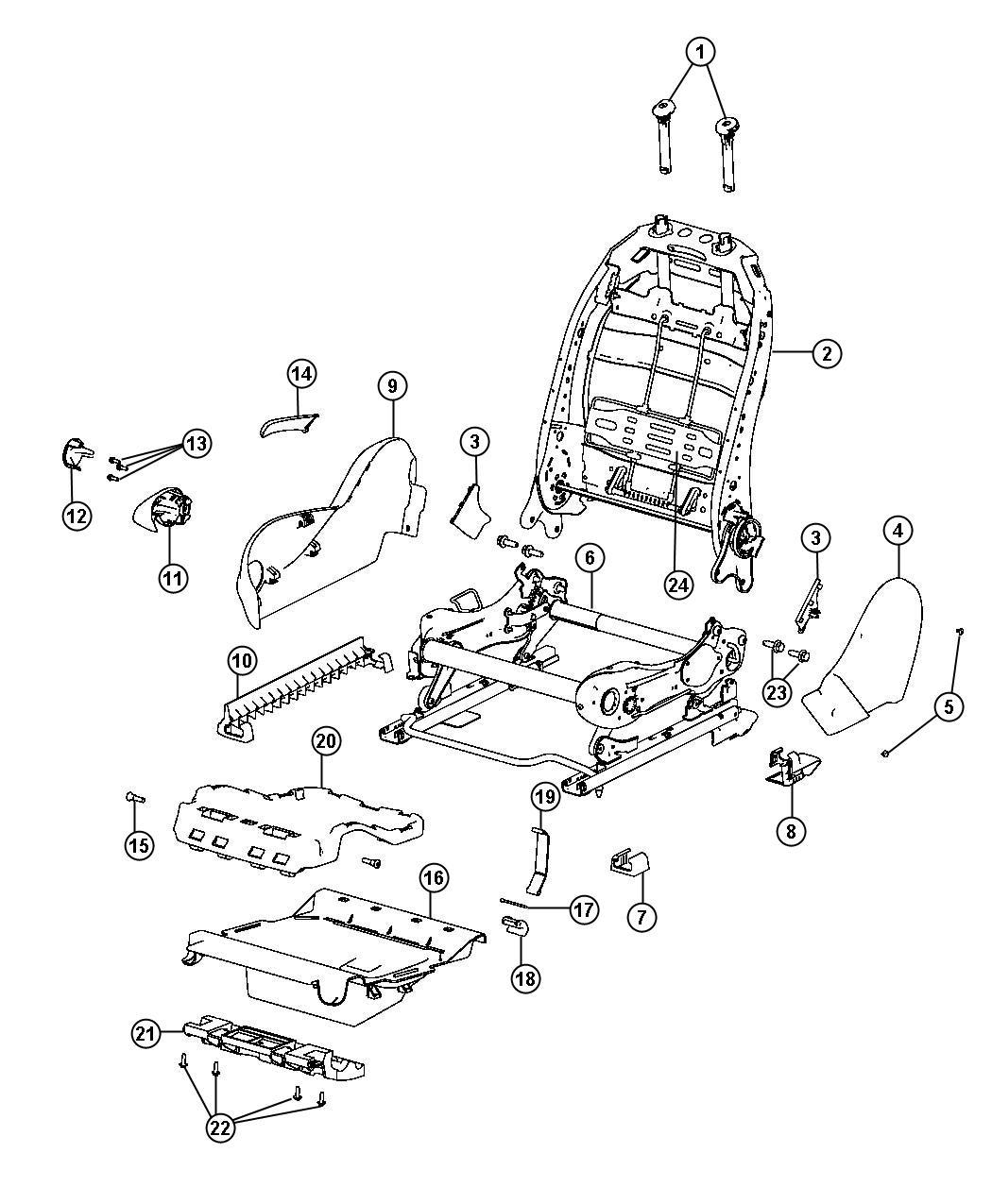 2013 Dodge Dart Headrest. Active head restraints. Front