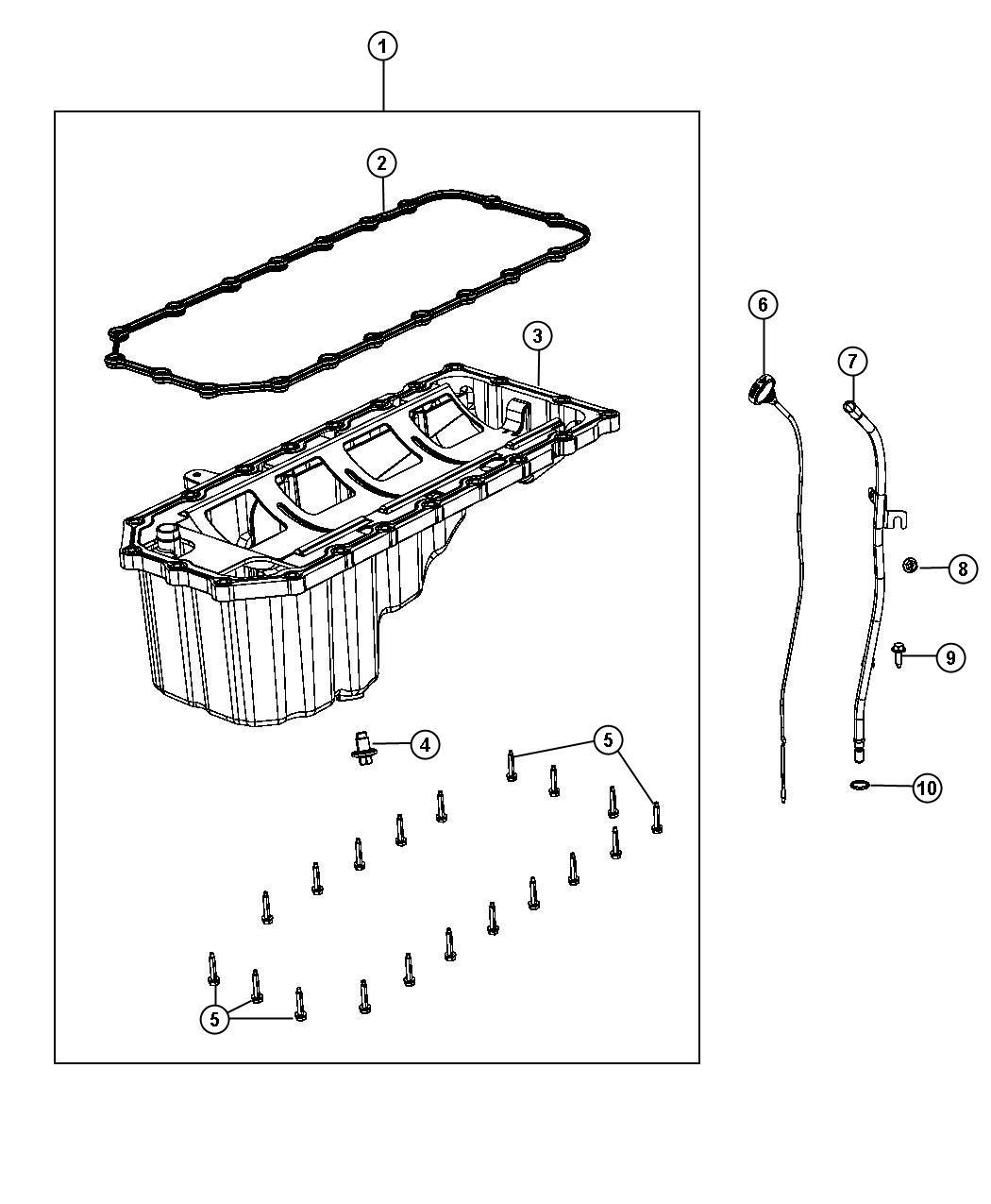 Dodge Durango Pan. Engine oil. Indicator, hemi, mds