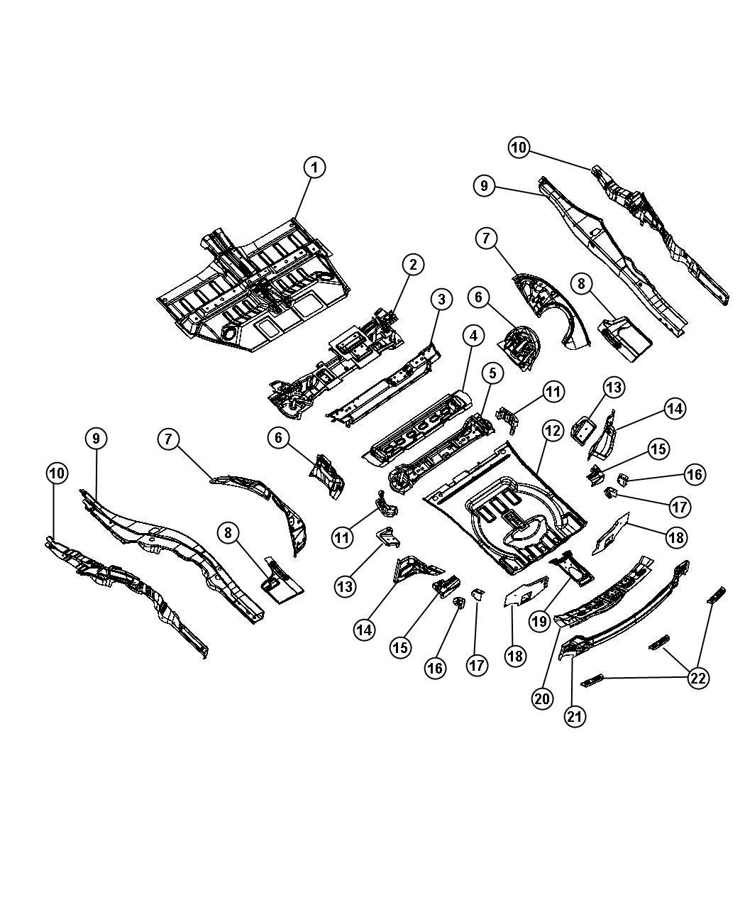 Dodge Durango Pan. Rear floor. Pans, mopar, center, body