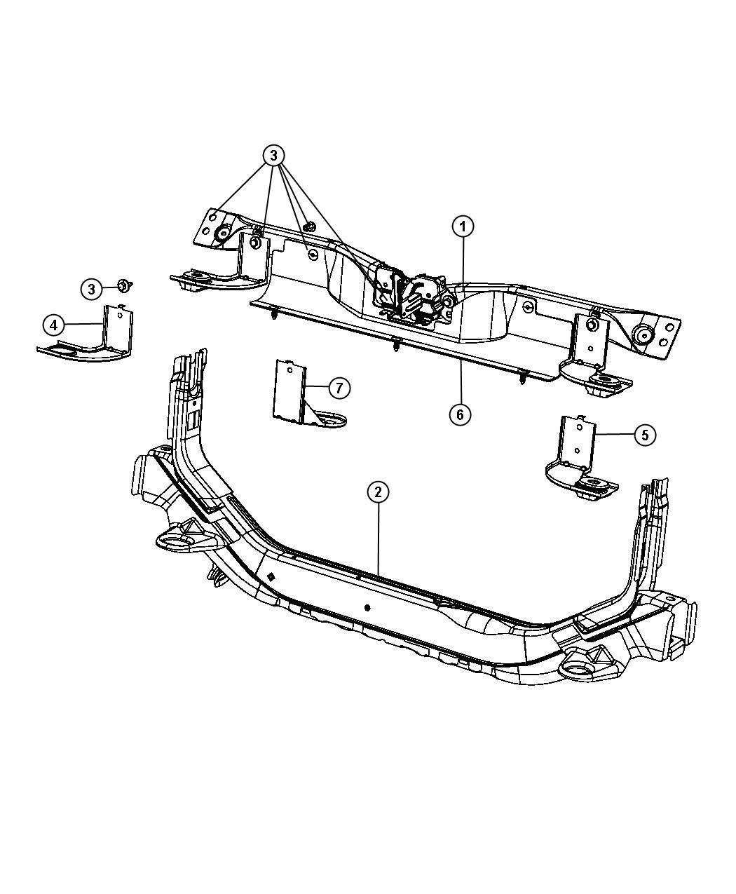 2013 Jeep Compass Crossmember. Radiator closure panel