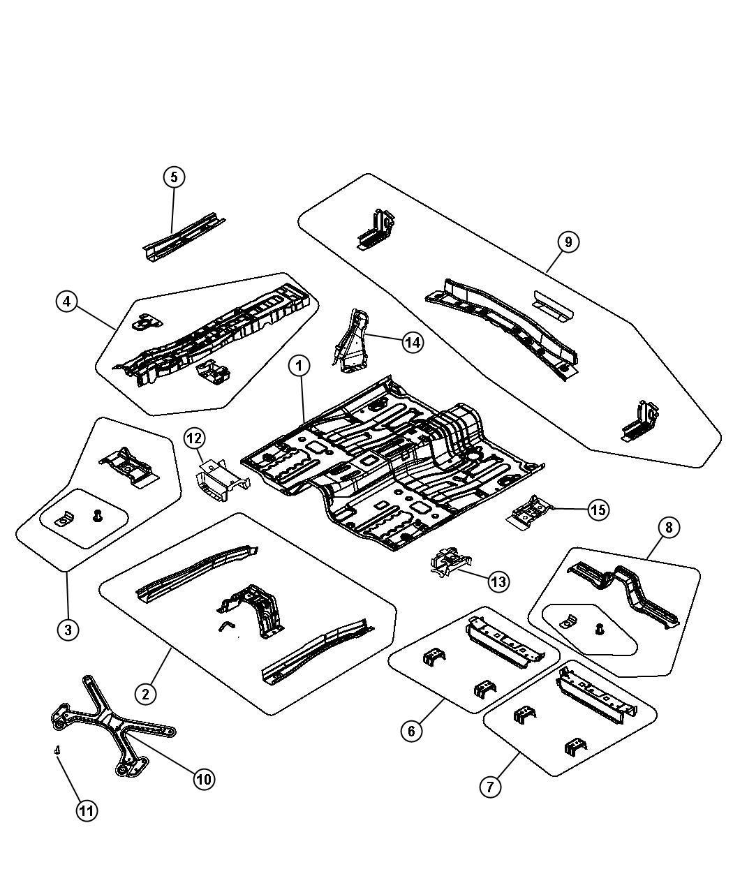 Dodge Avenger Reinforcement. Floor pan. Right front. Rear
