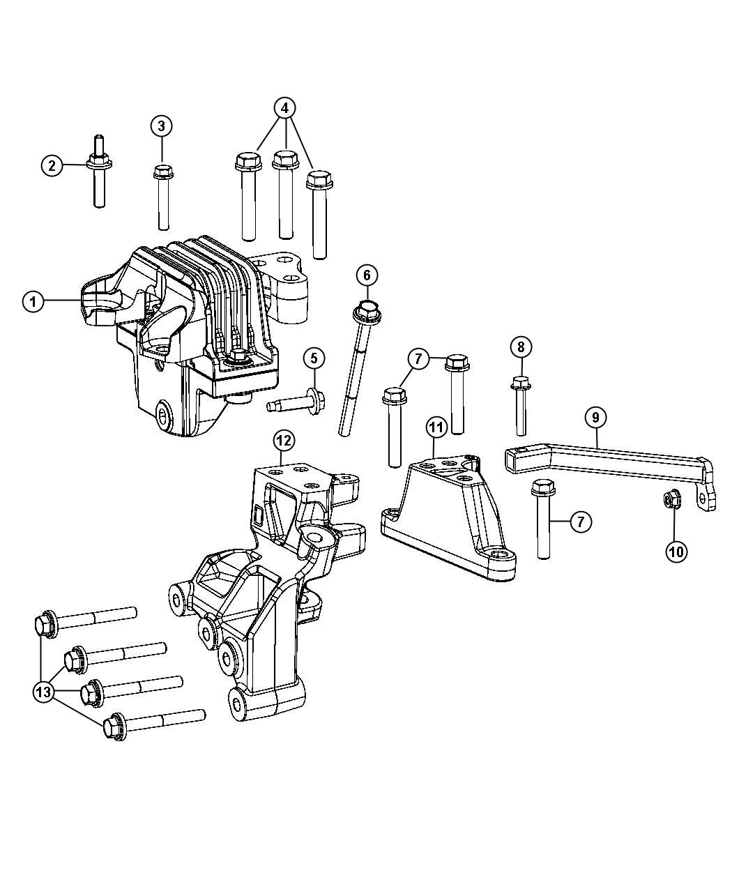 2014 Dodge Journey Bracket. Transmission mount. [6-speed