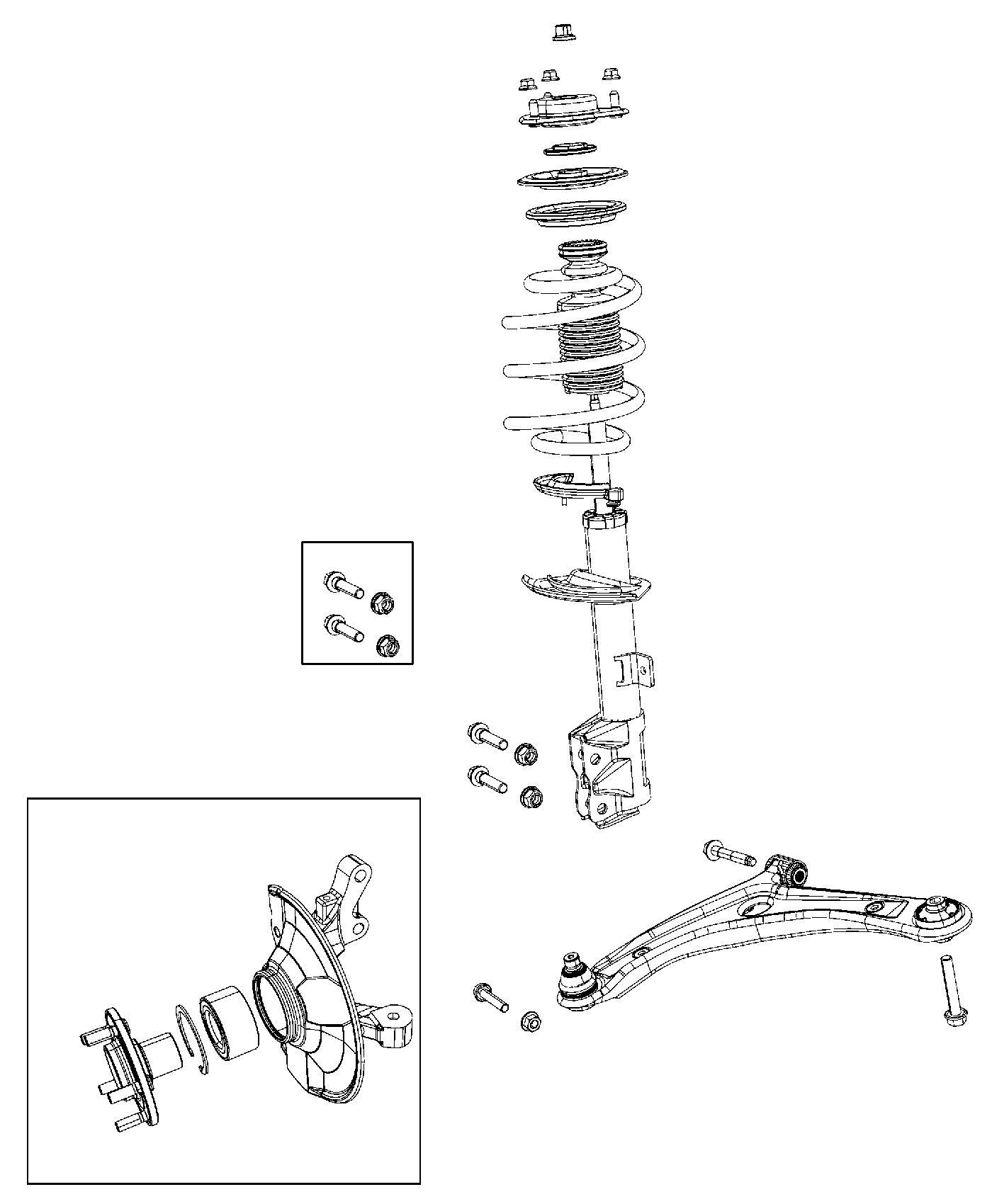 2014 Jeep Patriot Strut. Front suspension. Left. Module