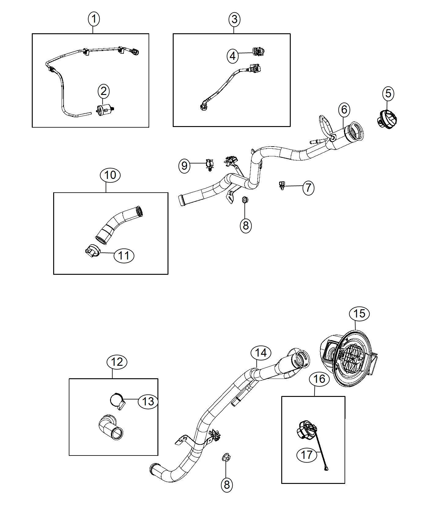 2014 Jeep Cherokee Tube. Fuel filler. Engine, air, vvt