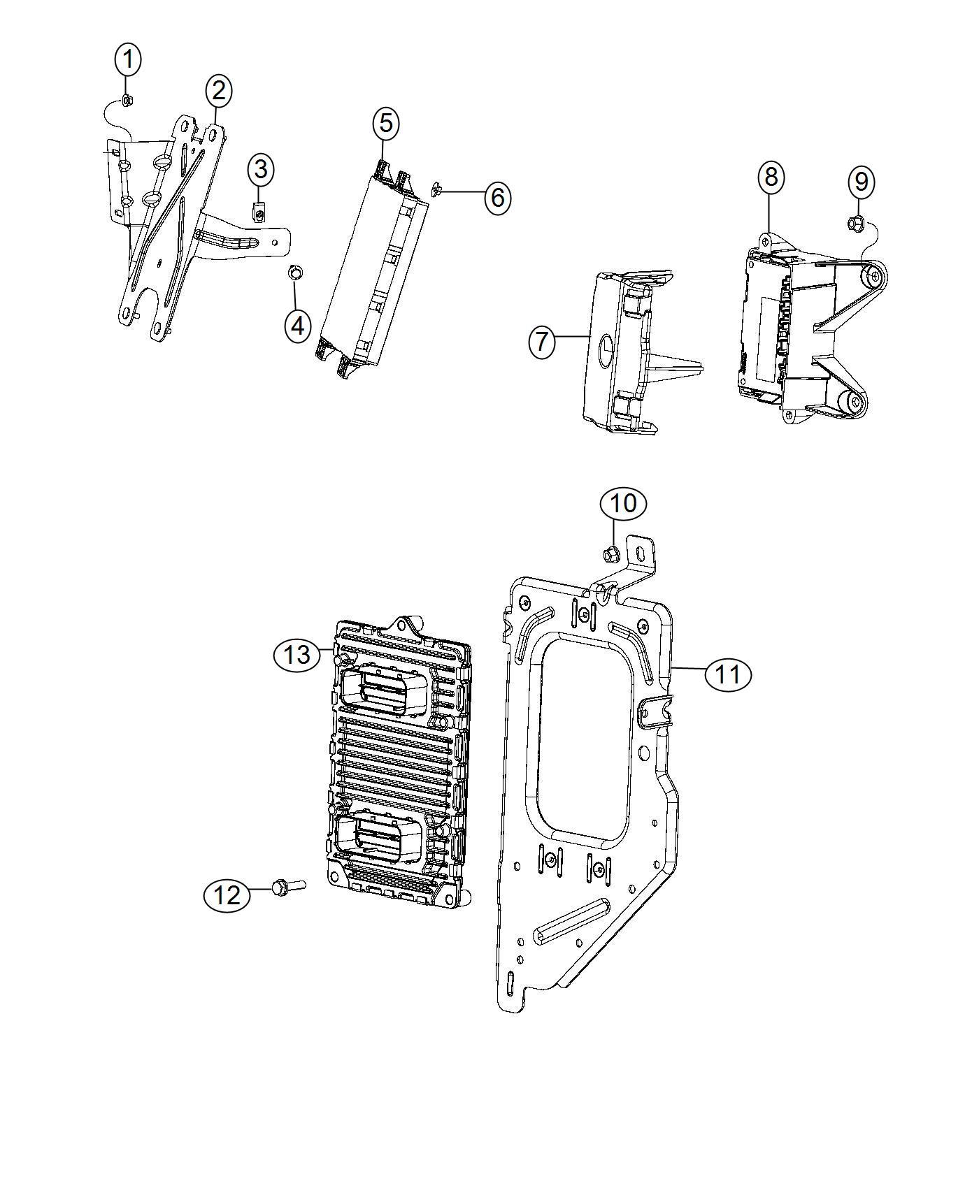 2013 Dodge Ram 1500 Bracket. Module. Ecm/pcm, pcm/ecm