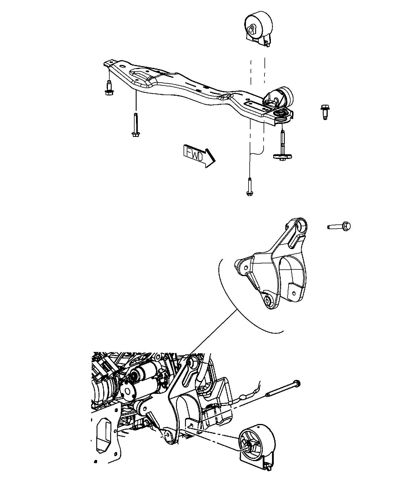 Dodge Grand Caravan Damper. Engine mount. [tow hooks