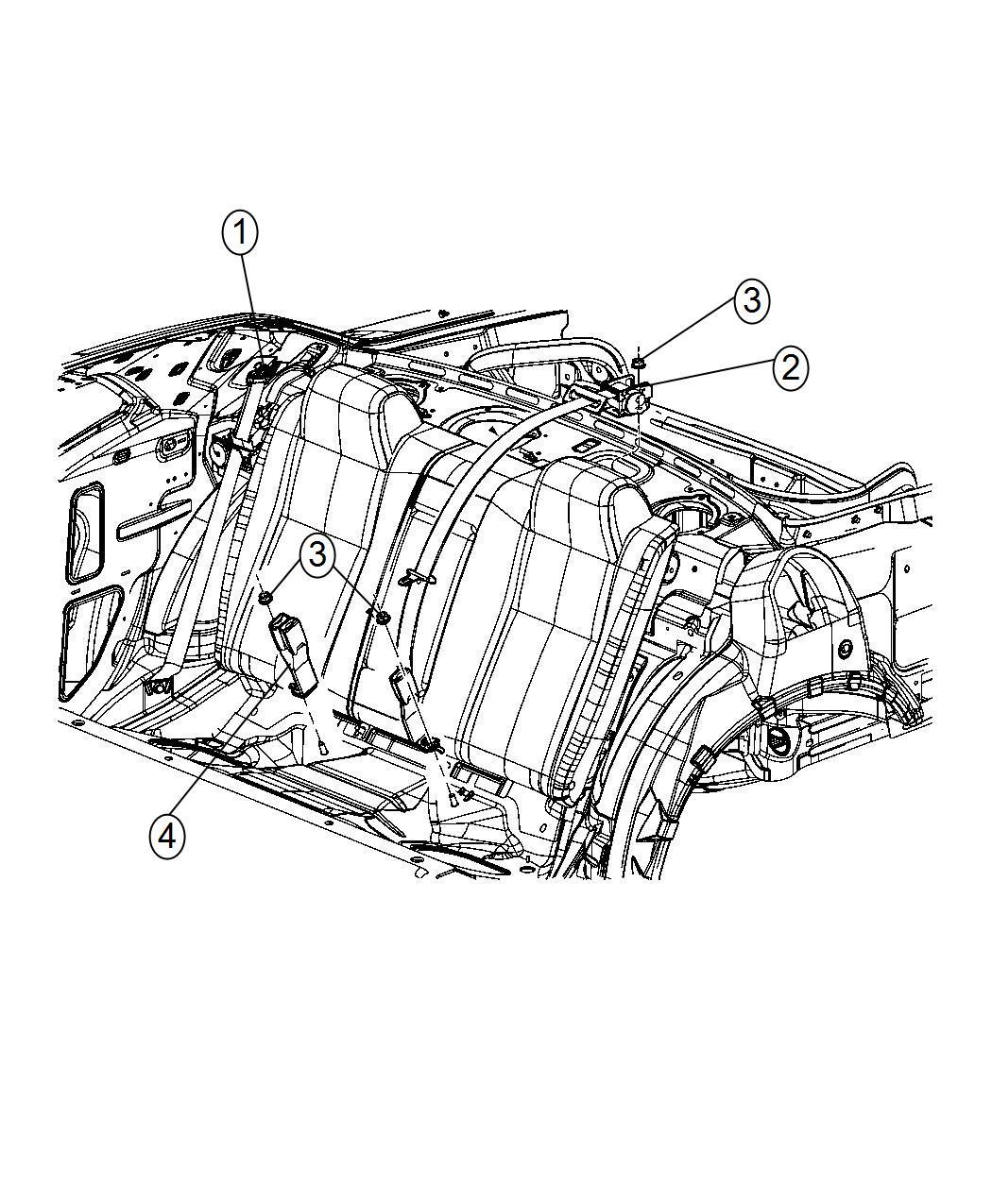 Dodge Challenger Seat Belt 2nd Rear Center After 10