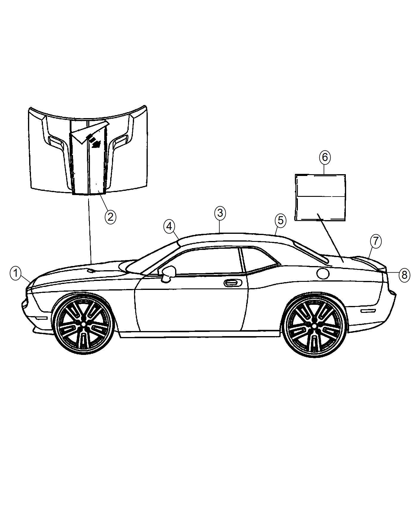 Dodge Challenger Decal Fascia Rear Right Mopar Matte