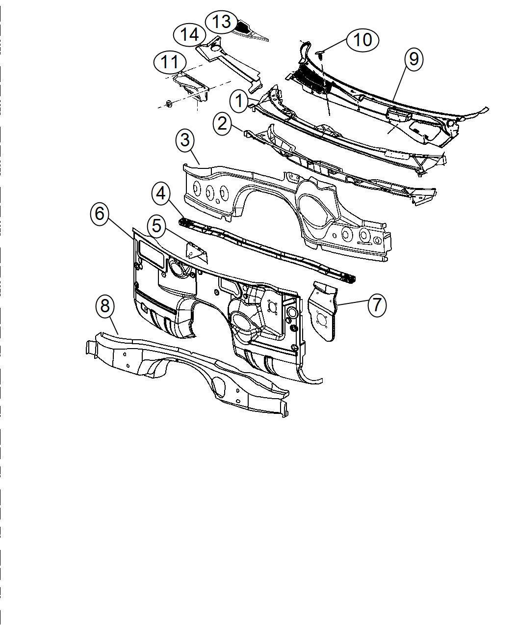 2014 Dodge Challenger Panel. Cowl plenum upper. Dash
