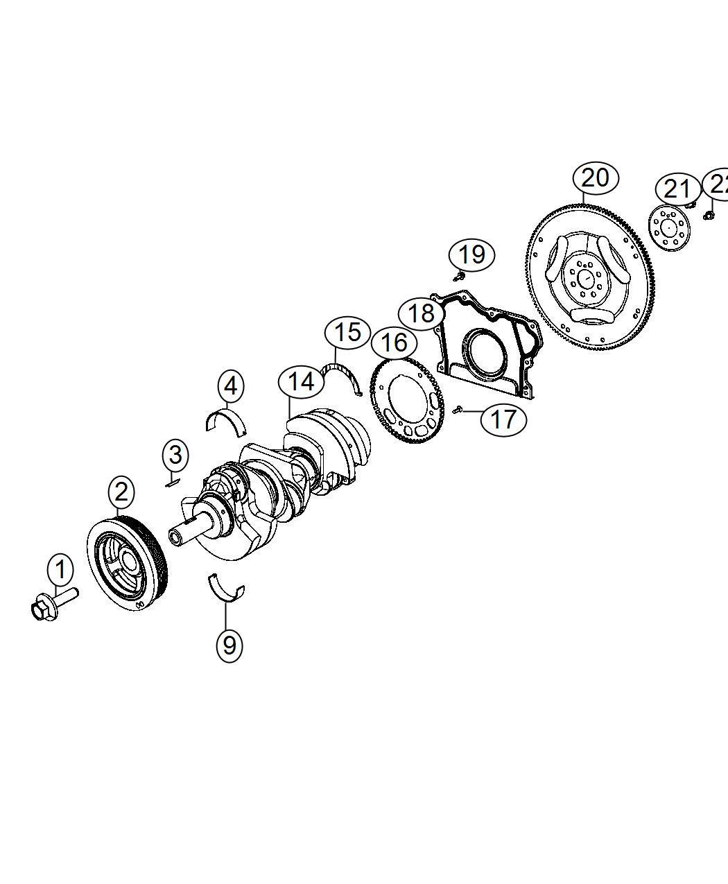 Chrysler 300 Damper. Crankshaft. Flywheel, engine