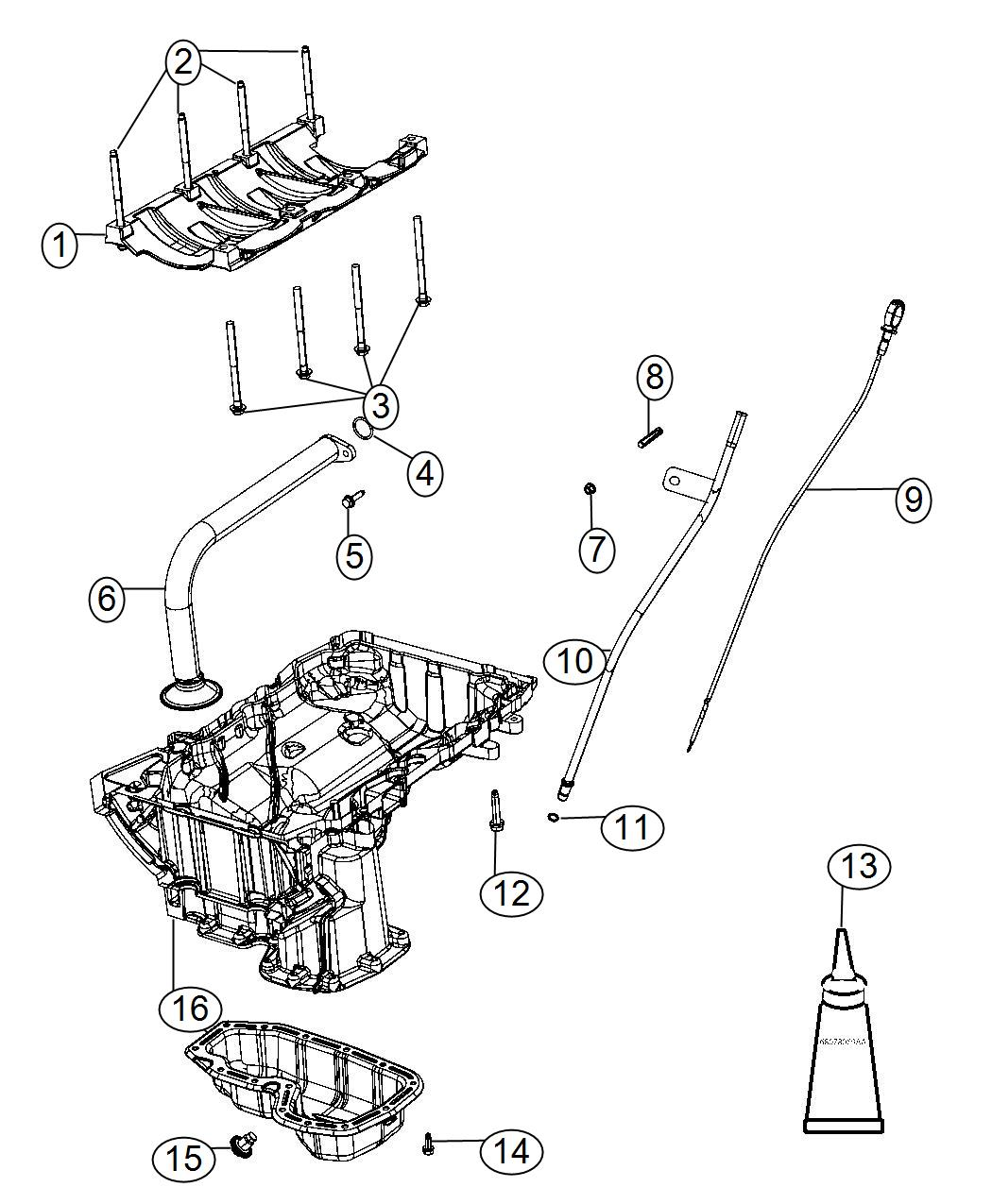 Chrysler 300 Indicator. Engine oil level. Pan, related