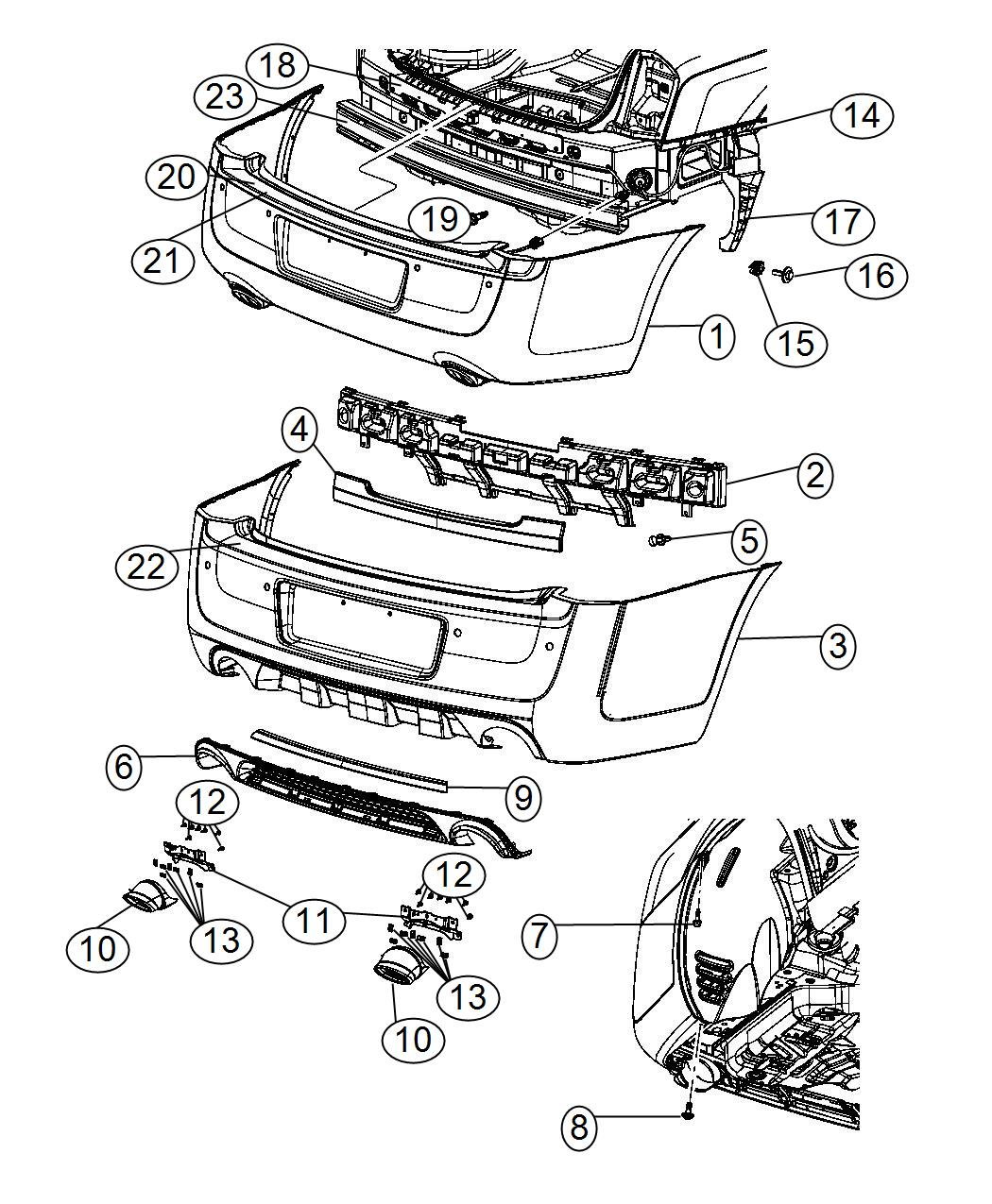 Chrysler 300 Beam Rear Bumper