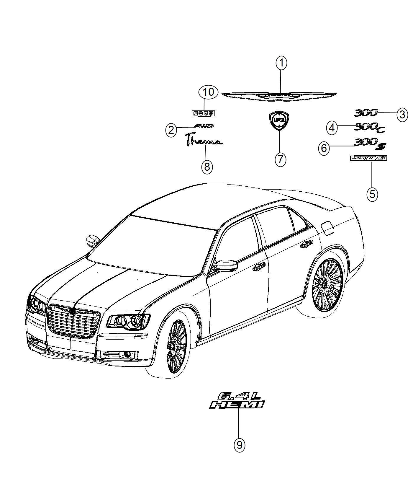 2014 Chrysler 300 Nameplate. Decklid. Awd. [all wheel