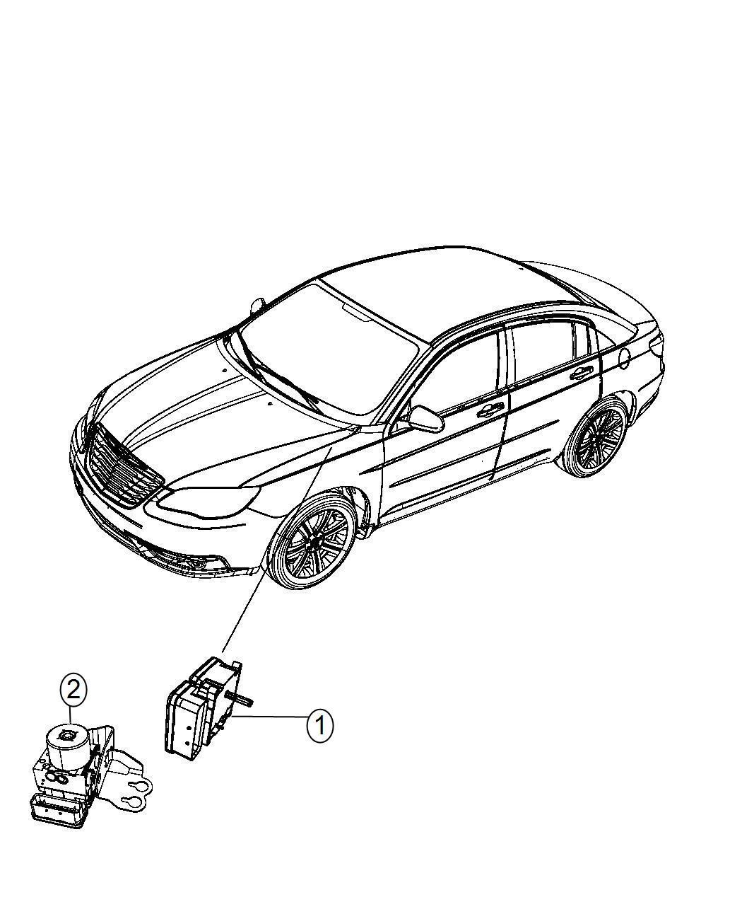Chrysler 200 Module Anti Lock Brake System Wheel Disc Brakes