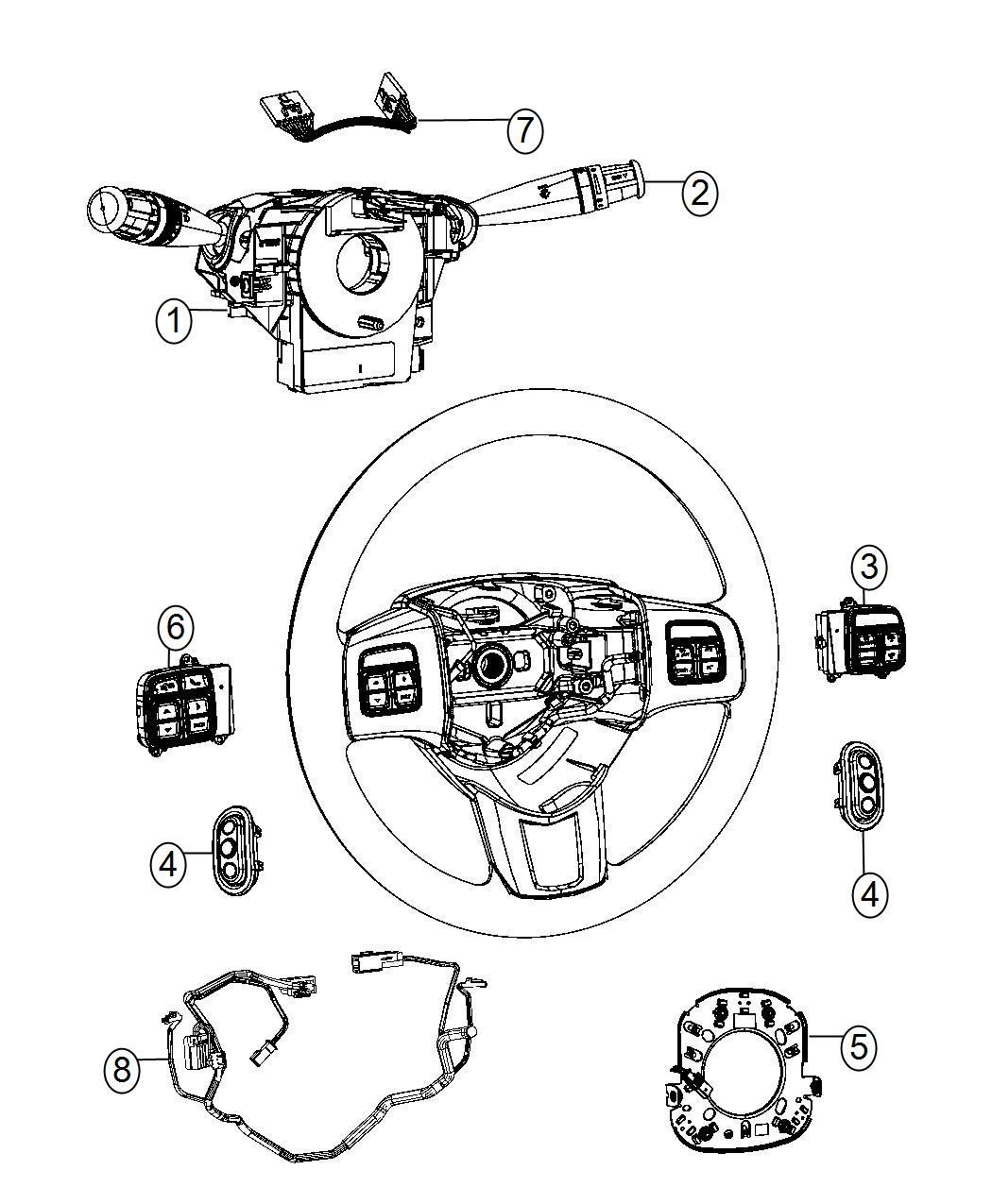 2014 Chrysler 200 Wiring. Steering wheel. Trim: [no