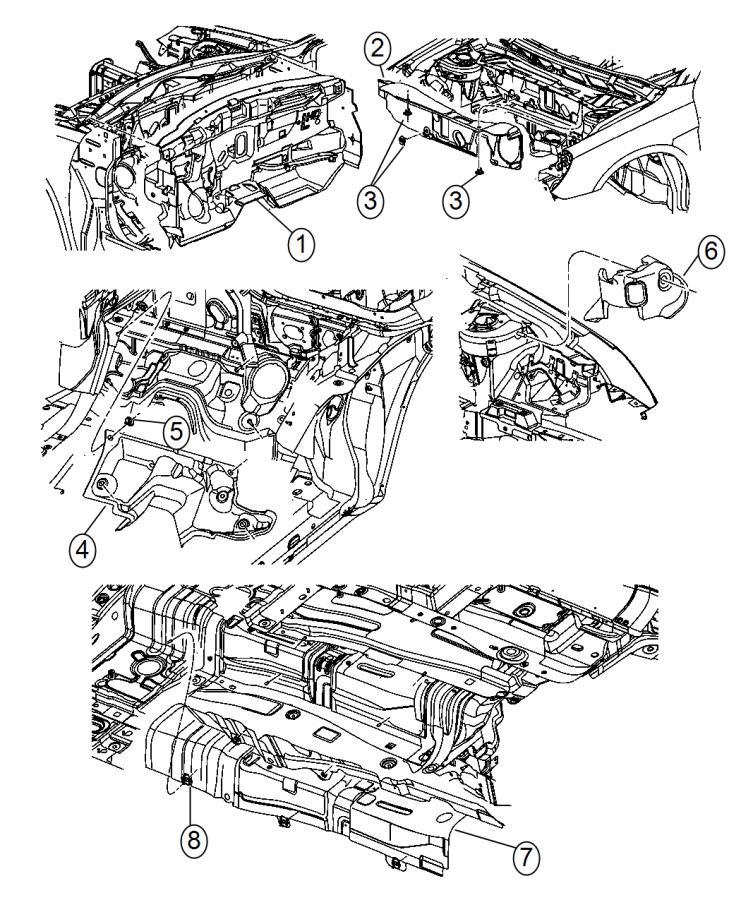 2014 Chrysler 200 Stuffer. Right. Between wheel well brace