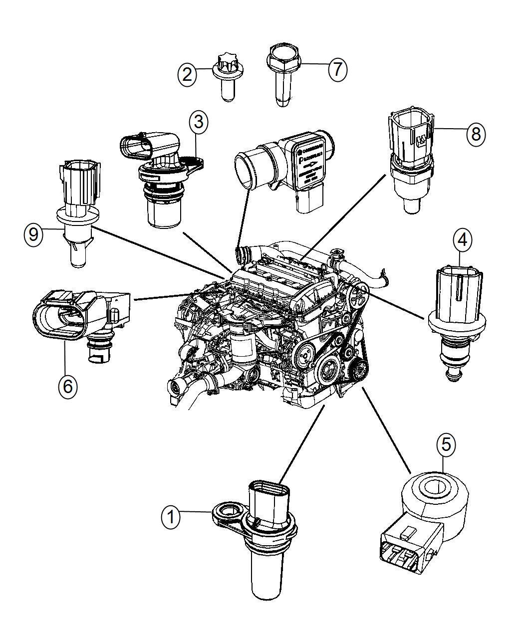 2014 Dodge Journey Sensor. Coolant temperature. [power