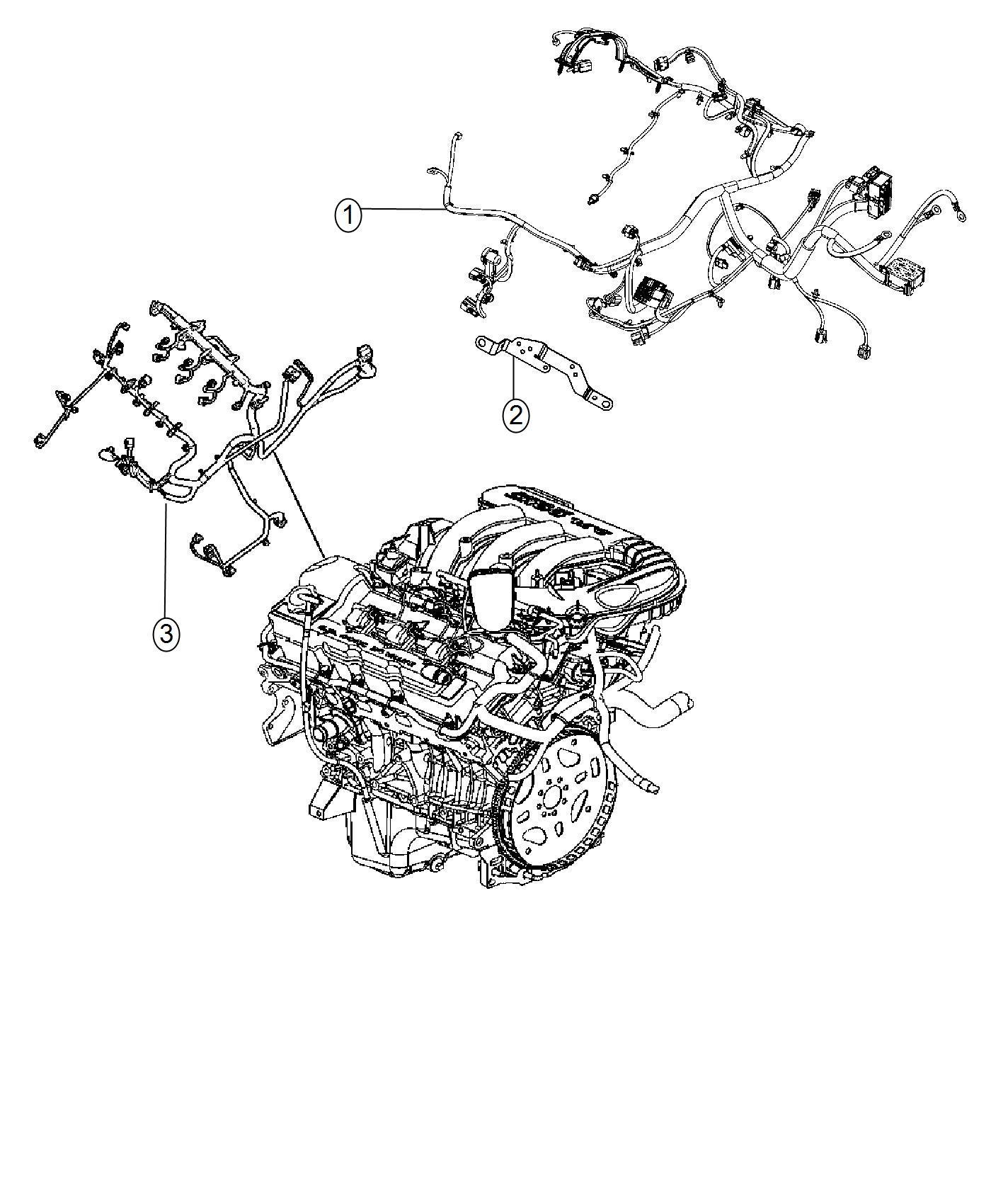2014 Dodge Journey Wiring. Engine. Includes transmission