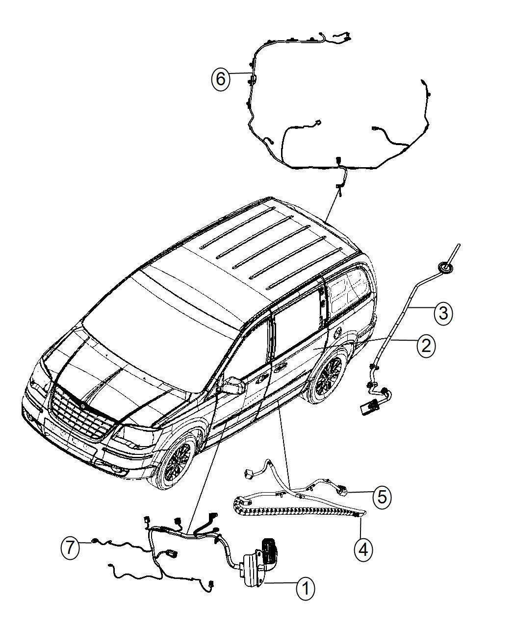 Ram C/V Wiring. Sliding door track. Right. One, driver