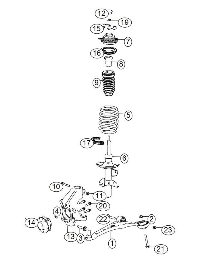 2014 Dodge Dart Isolator. Spring seat. Upper. Suspension