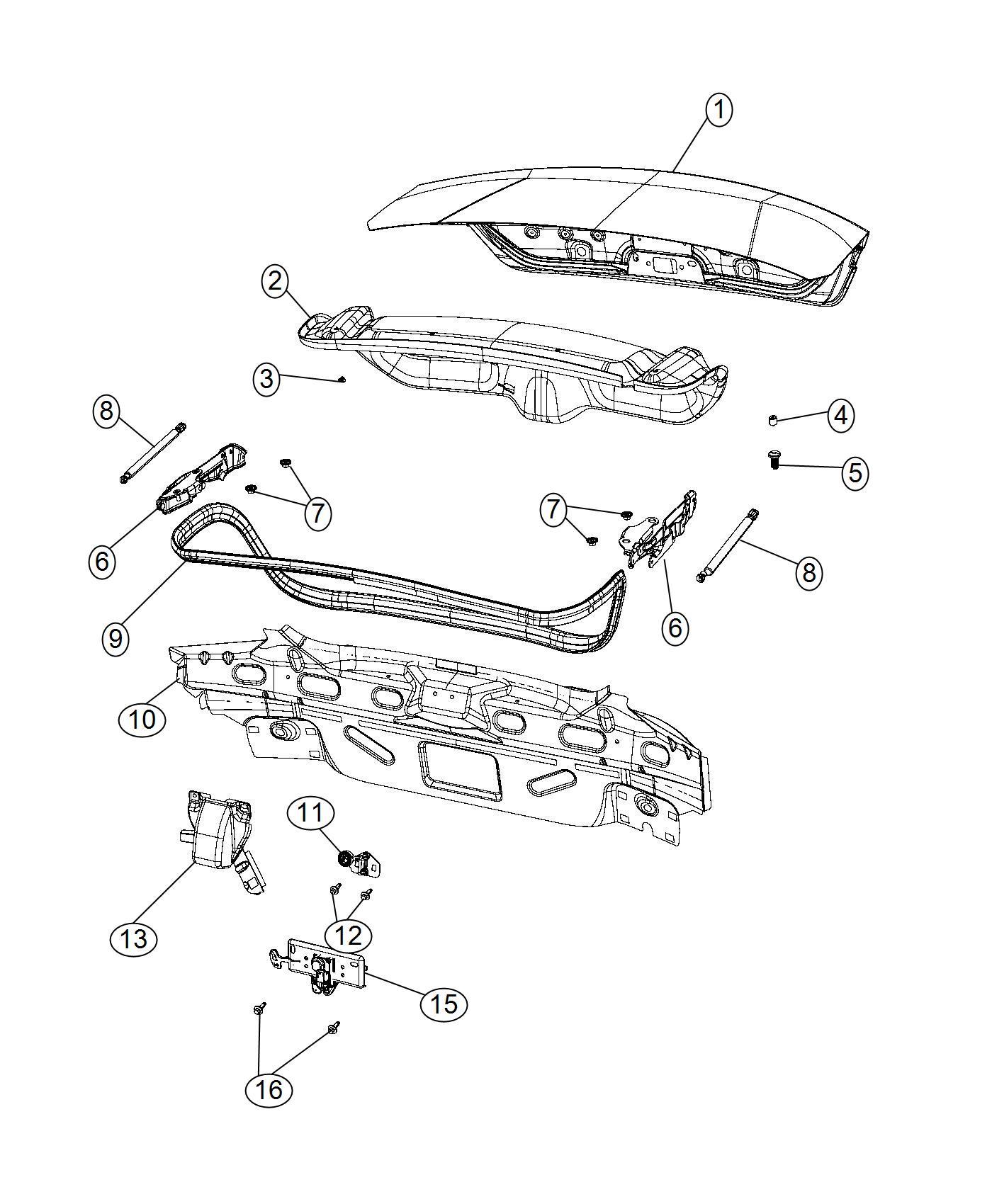 2014 Chrysler 200 Latch. Decklid. Body, related, mopar