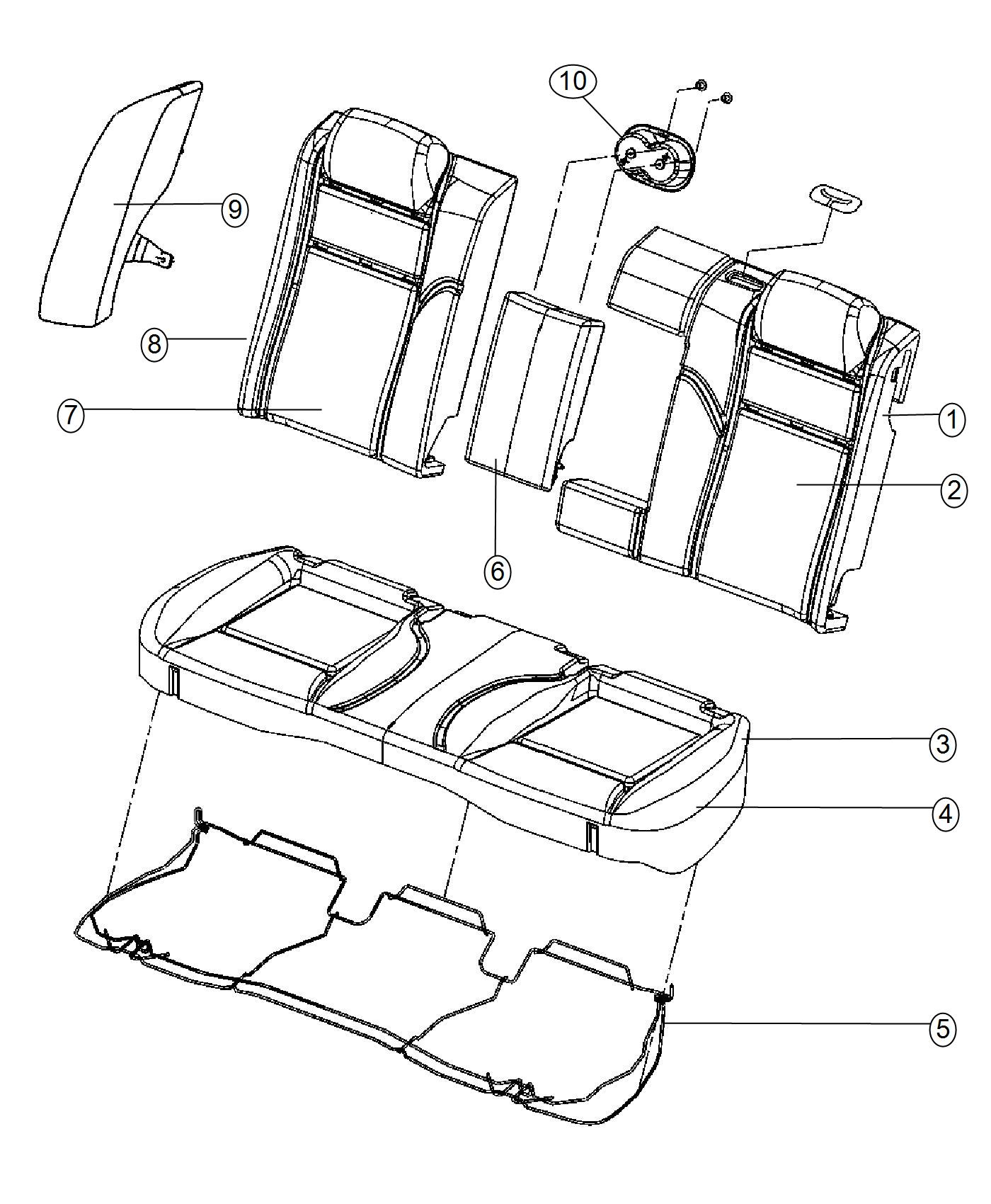 Dodge Charger Headrest Rear Trim Prem Cloth Low Back