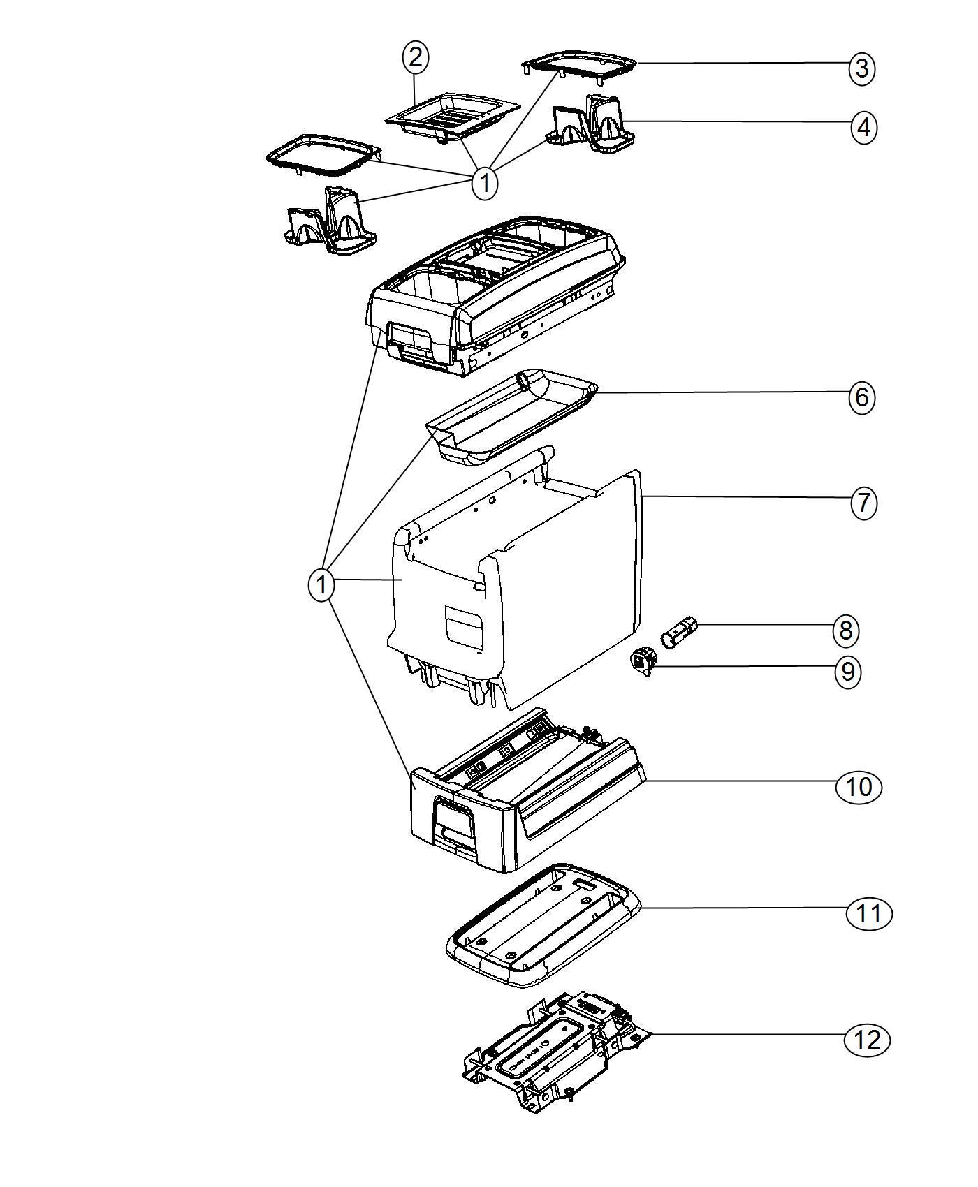 2015 Dodge Grand Caravan Console. Center. [-xu]. Trim