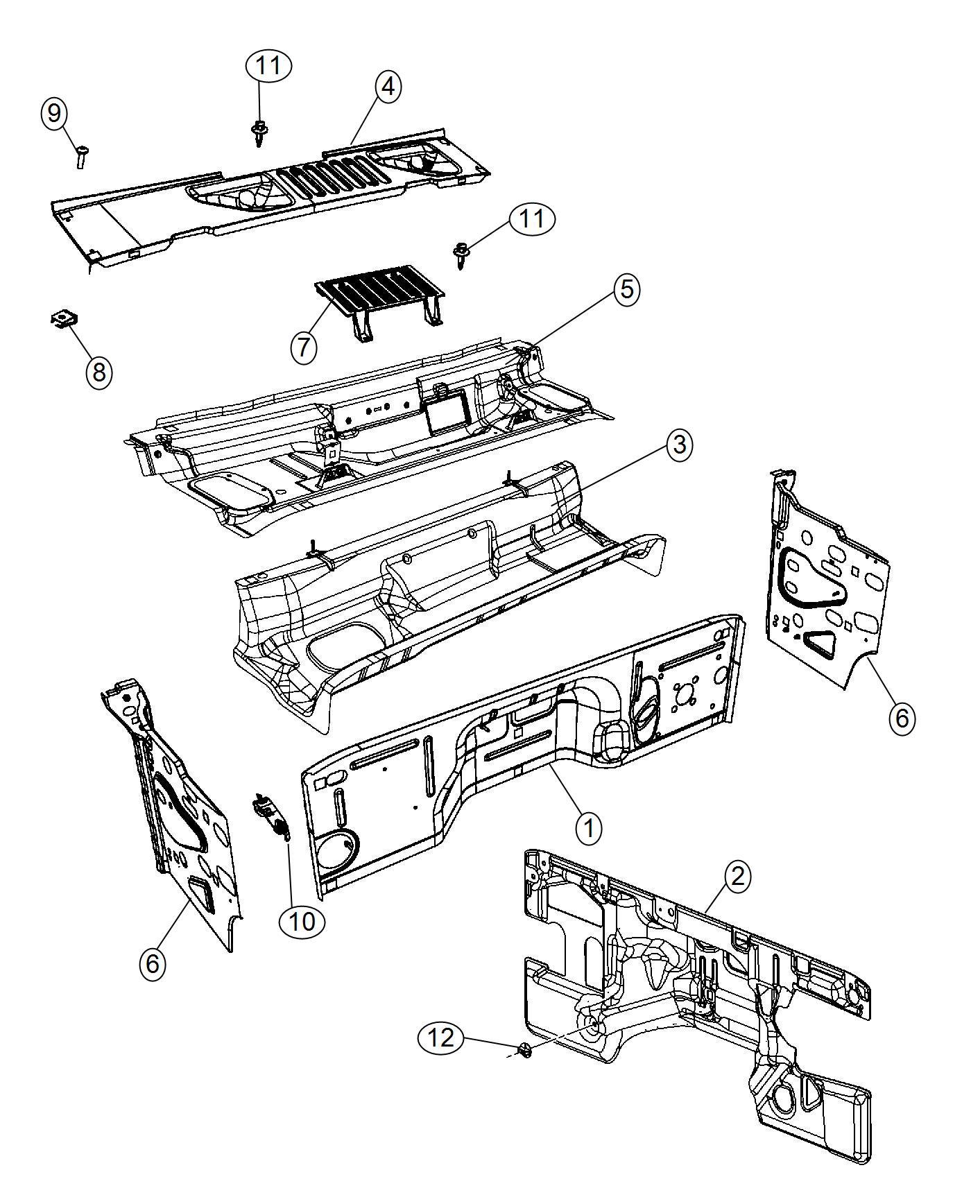 Jeep Wrangler Panel Dash Body Cowl