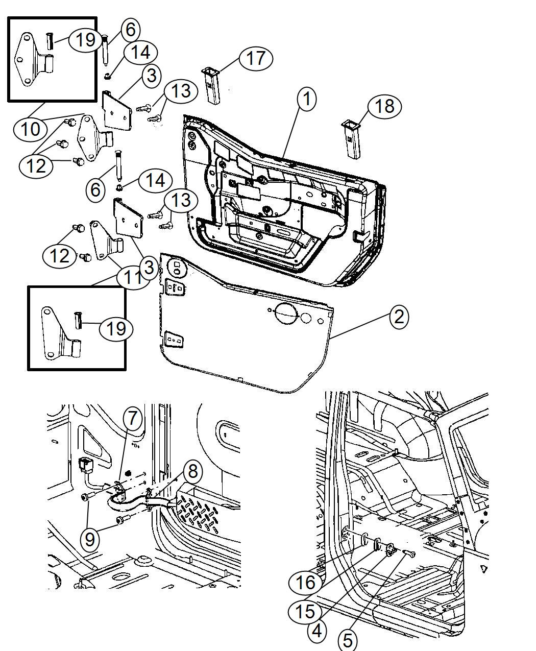 2014 Jeep Wrangler Hinge. Body half. Right. Door, hinges