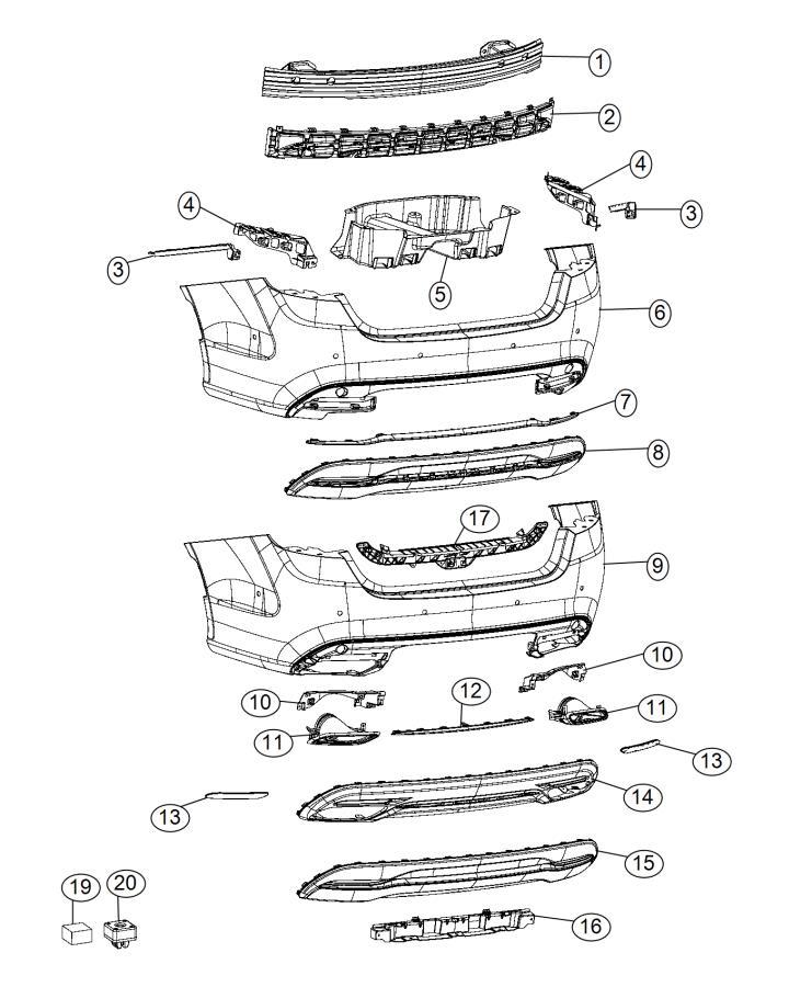 2017 Chrysler 200 Strip. Rear fascia. [ne8], [mca]. Body