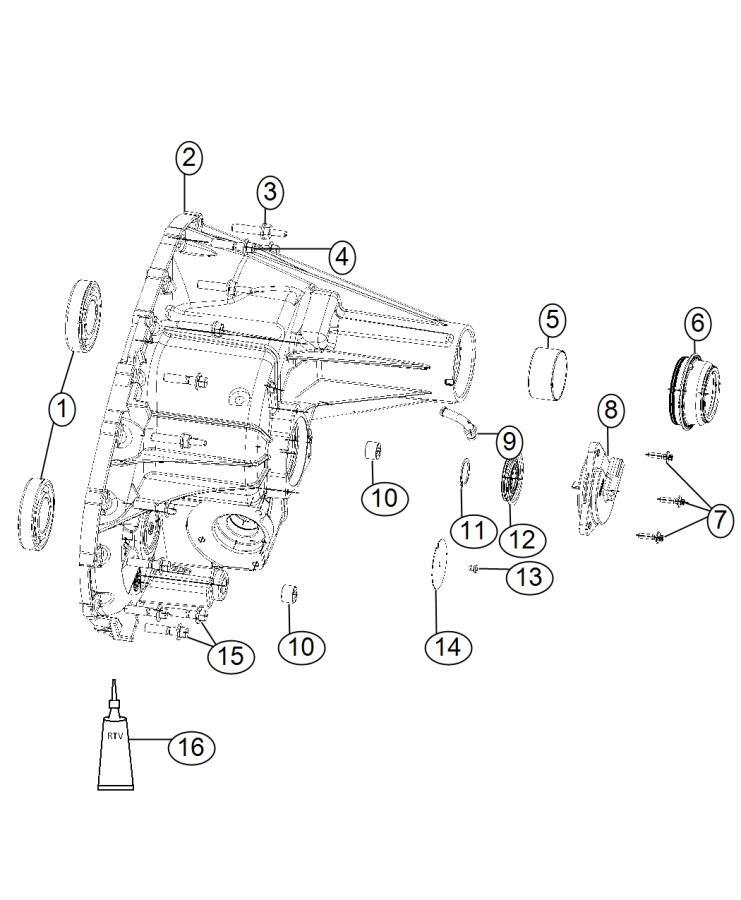 2012 Dodge Ram 1500 Case. Transfer case rear. Dhr