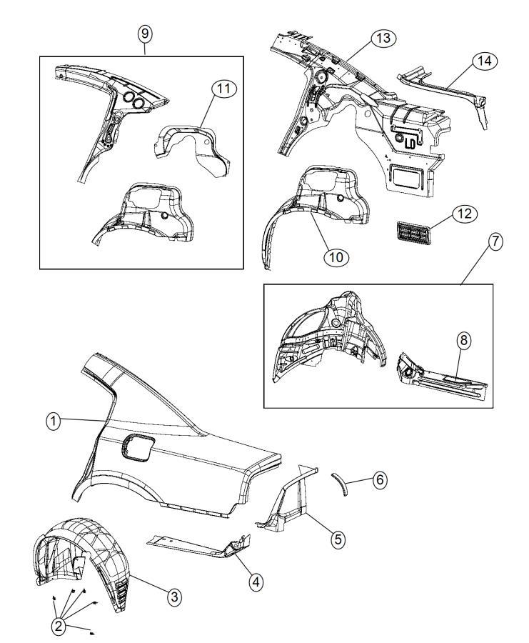 2011 Dodge Charger Reinforcement. Body side aperture rear