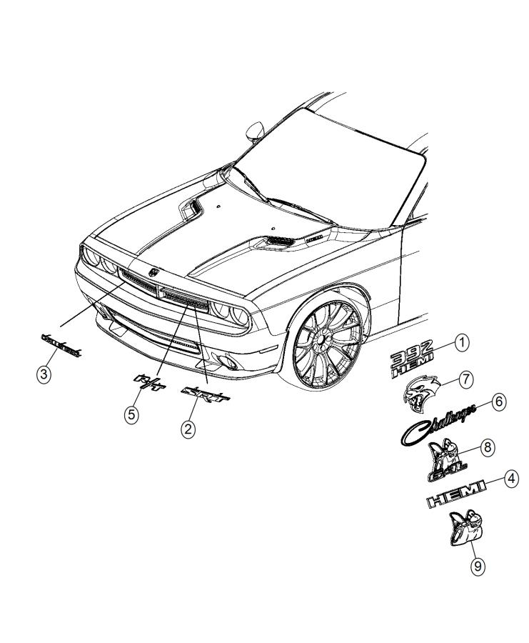 Dodge Challenger Nameplate. Srt. [front fascias parts