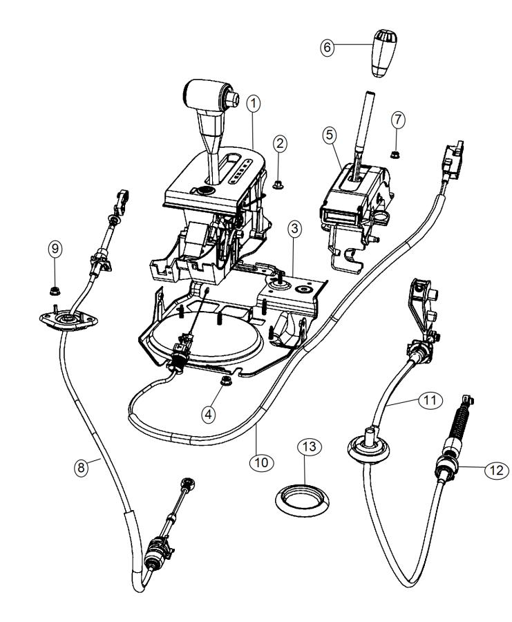 2008 Jeep Wrangler Cable. Shift transmission auto. Control