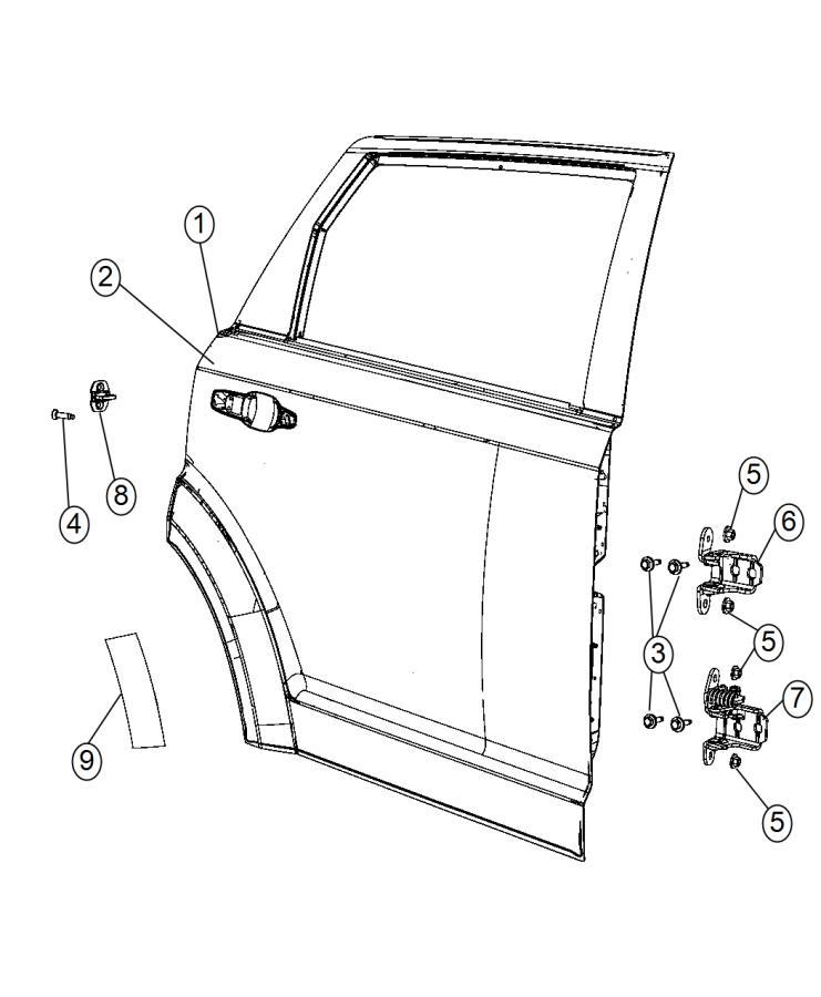 Dodge Journey Door. Rear. Left. Shell, hinges, fca