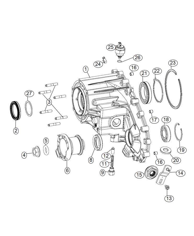 Jeep Wrangler Flange. Output. Case, module, chassis