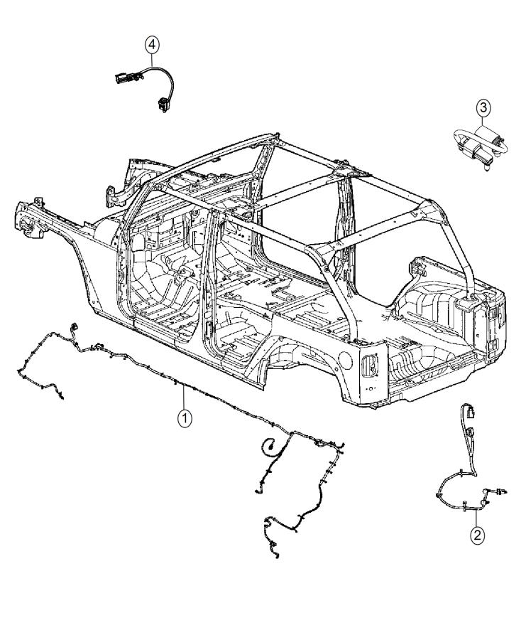 Jeep Wrangler Wiring. Chassis. Front, tru, steel