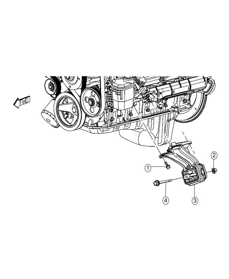 Ram 3500 Insulator. Engine mount. Left side. Mounting, rwd