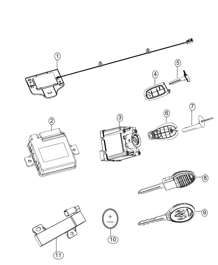 Ram 2500 Transmitter. Integrated key fob. Start, remote