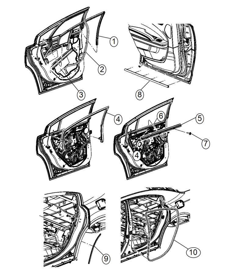 2015 Dodge Charger Weatherstrip. Door belt inner. Rear