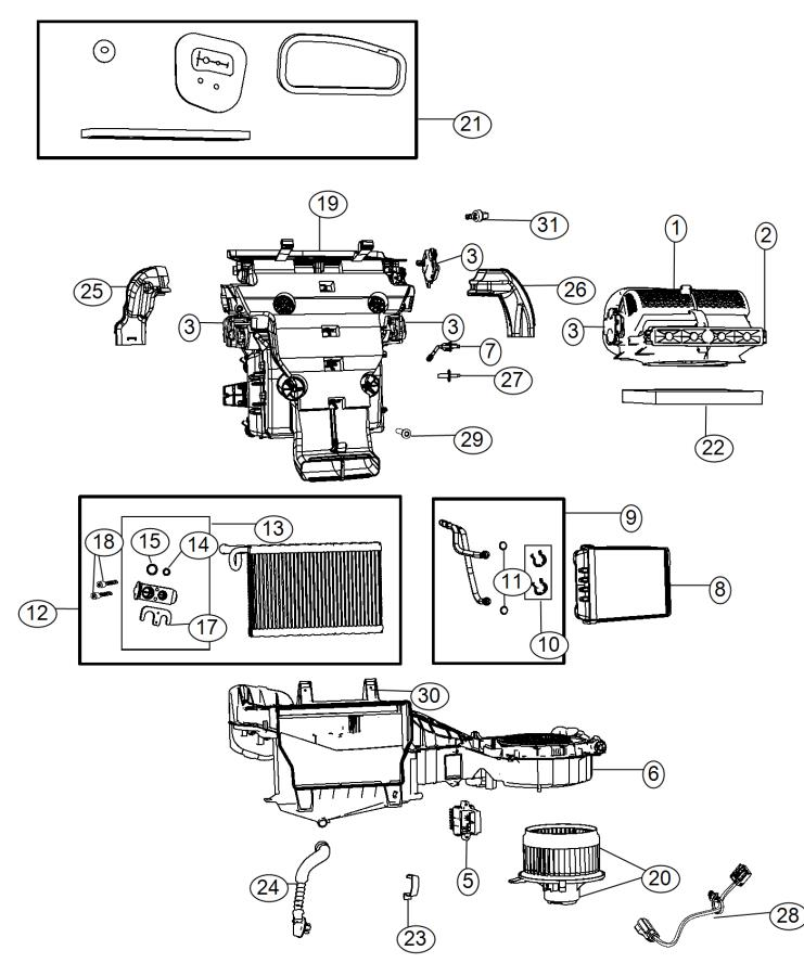 2017 Dodge Durango Actuator. Distribution. A/c and heater