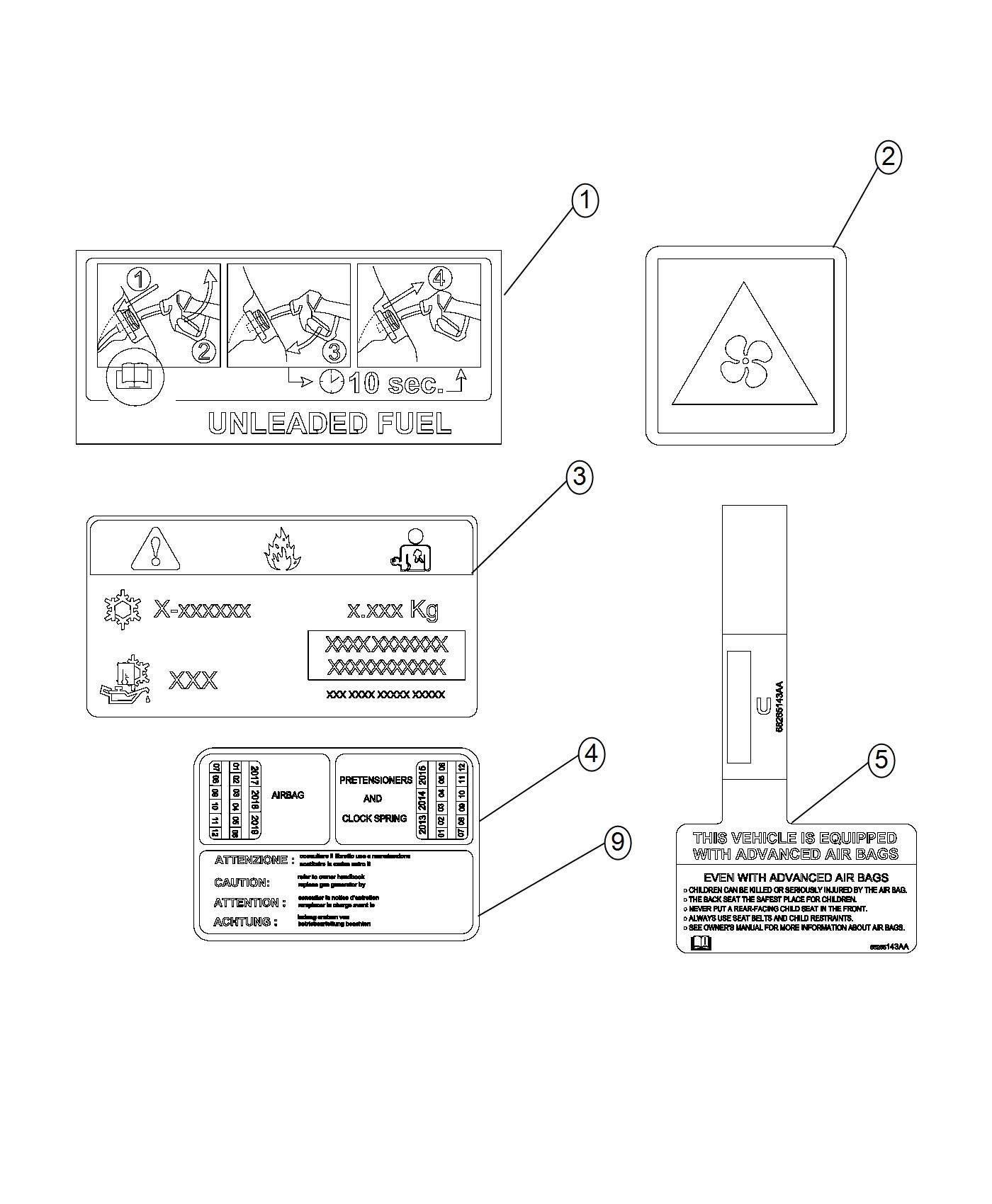 Fiat 500X Label. Vehicle emission control information. 6
