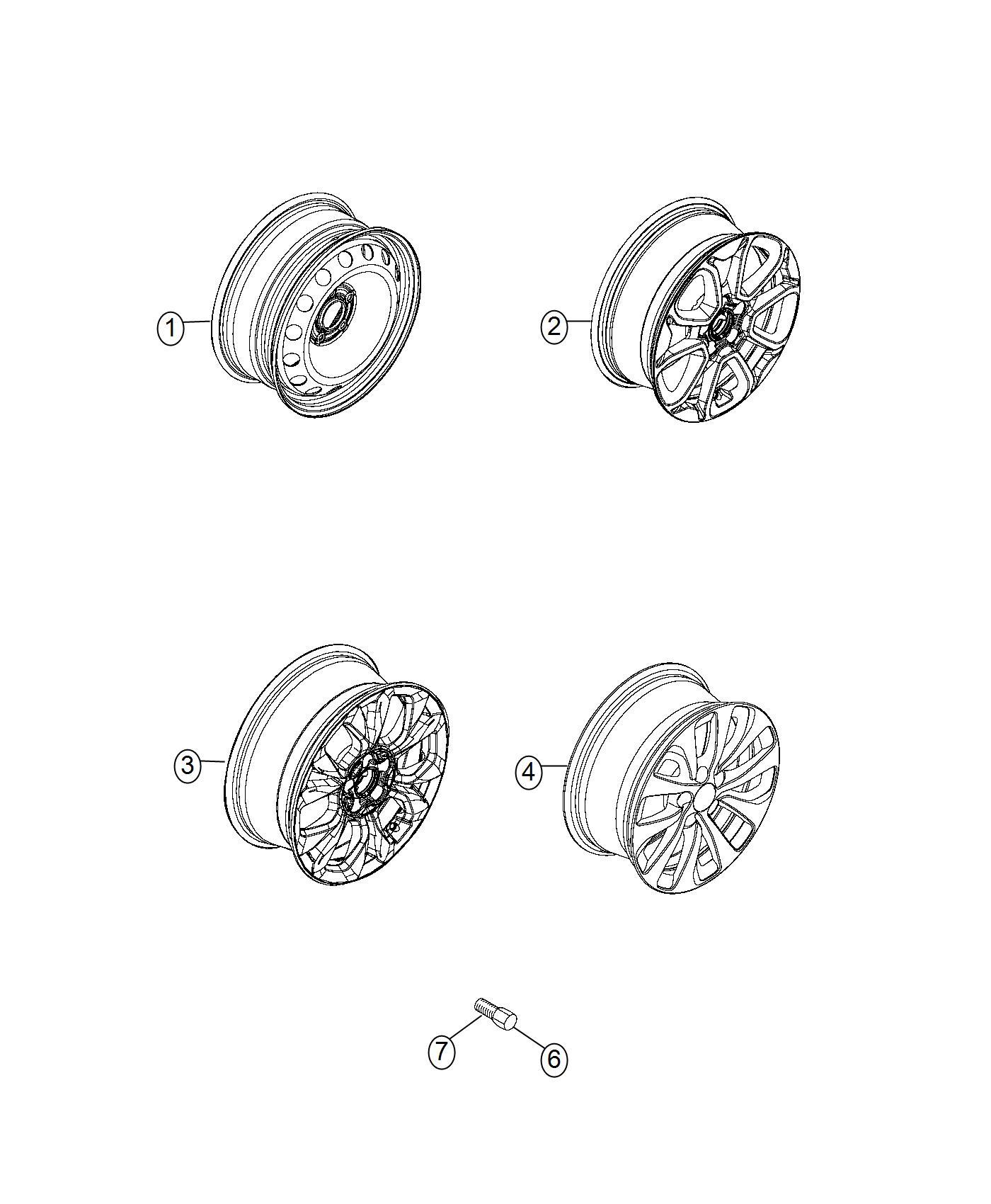 2016 Fiat 500X Wheel. Steel. [16x6.5 steel wheels