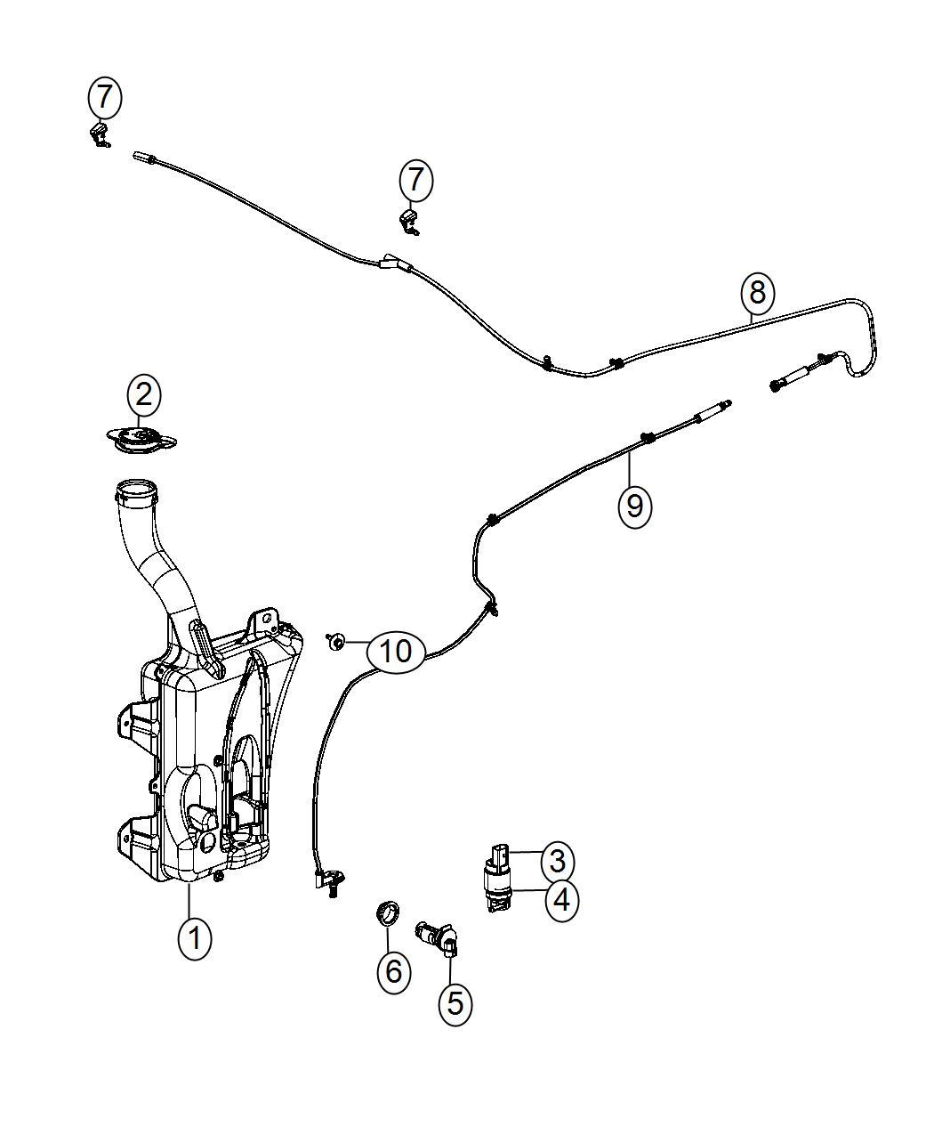 2016 Dodge Dart Grommet. Windshield washer pump. Front