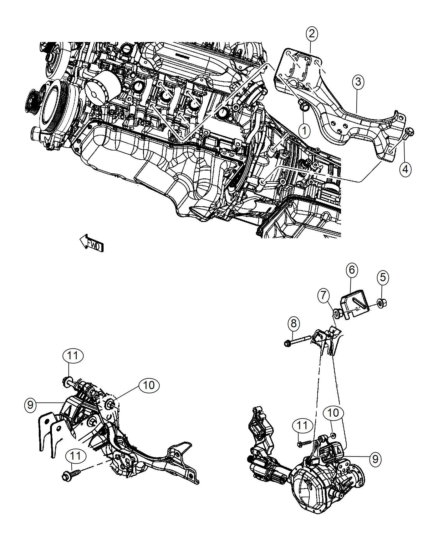 Dodge Ram Bracket Engine Mount Left Side 6 Spd