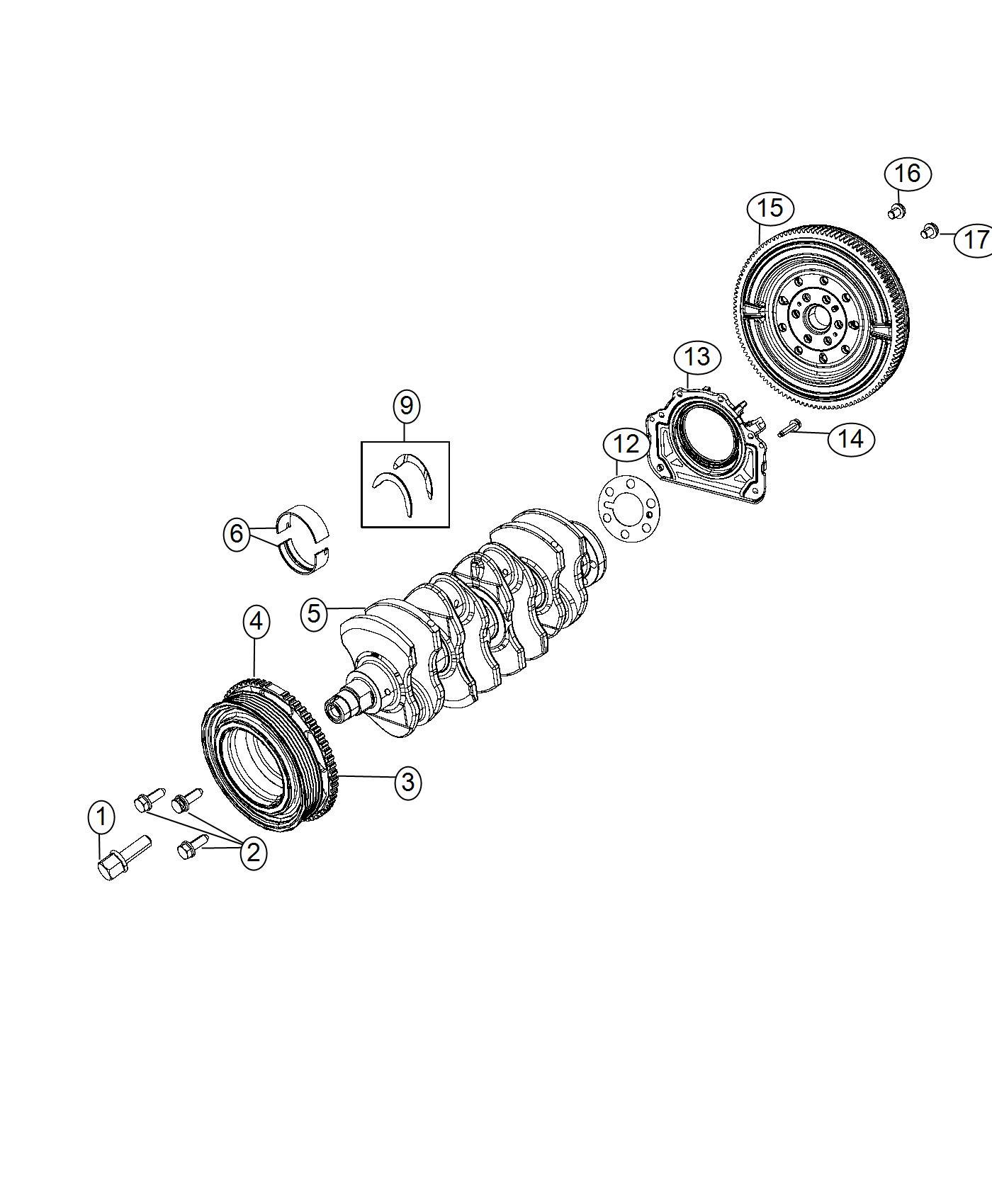 2016 Dodge Dart Damper. Crankshaft. Flywheel, bearings