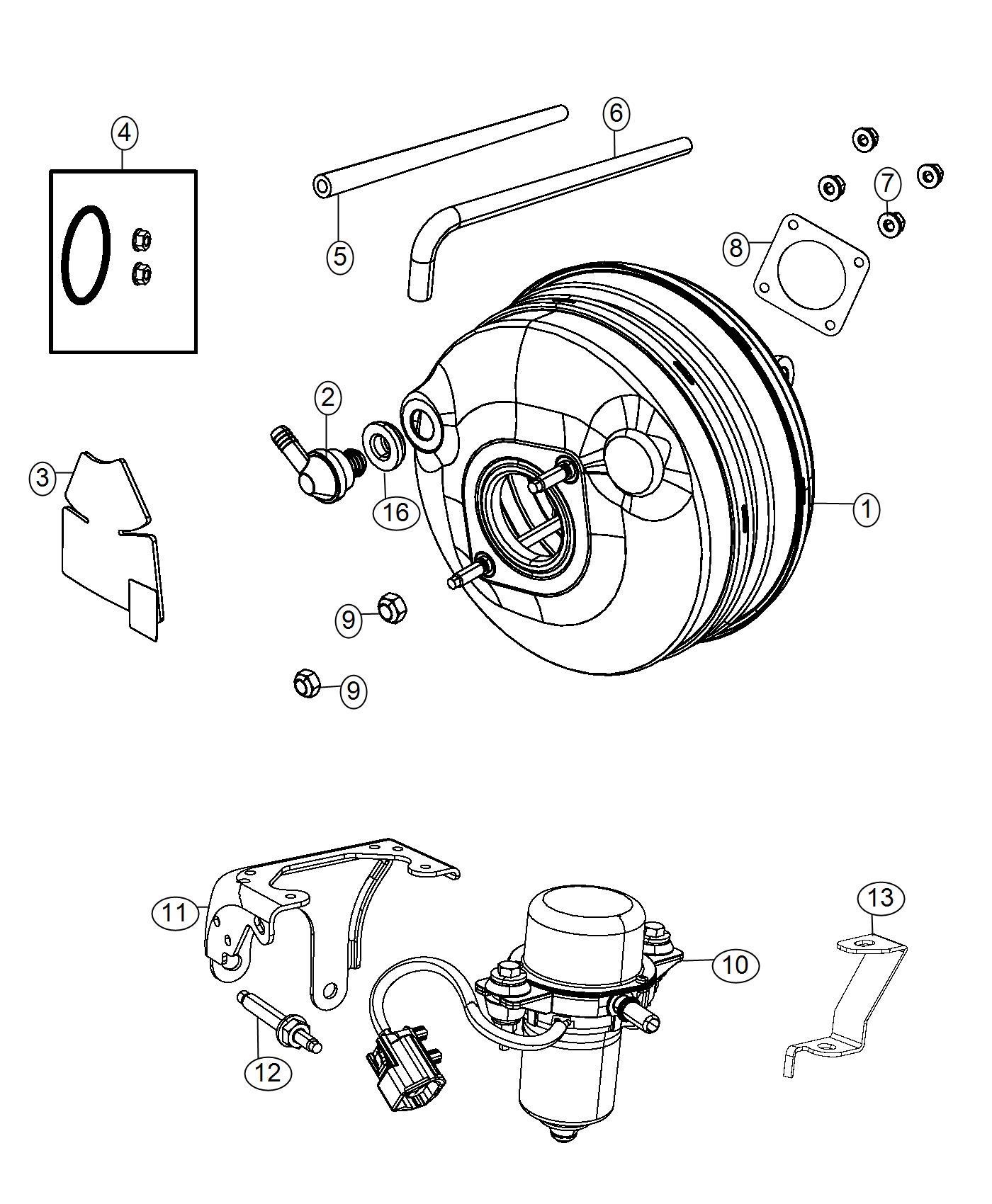 Dodge Grand Caravan Hose. Brake booster vacuum. [2.8l i4