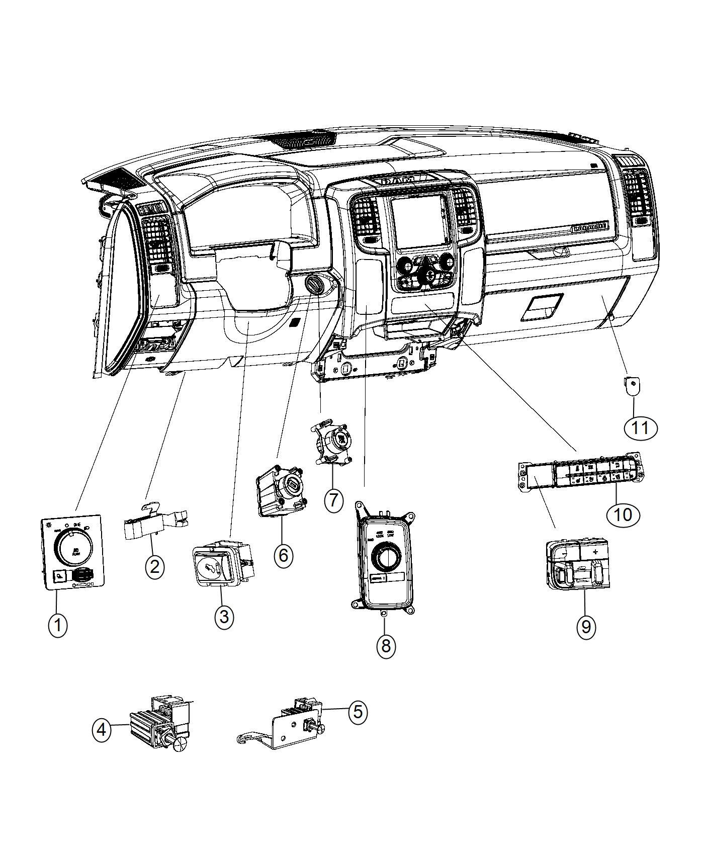 2013 Dodge Ram 3500 Switch. Instrument panel, trailer