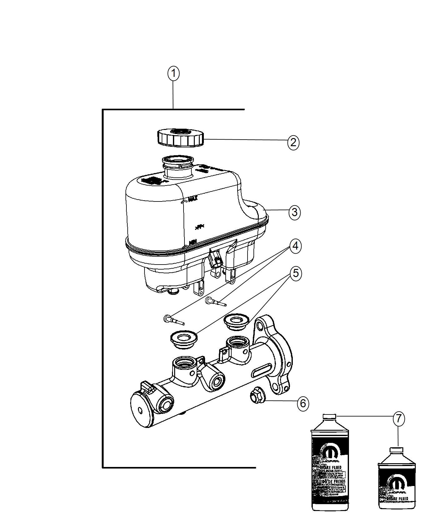 2016 Ram 5500 Reservoir. Brake master cylinder